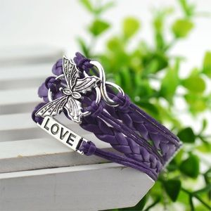 Purple Leather Braided Bracelet with Charms